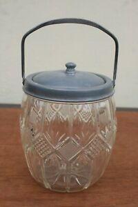 ART NOUVEAU CUT GLASS BISCUIT BARREL WITH PEWTER LID