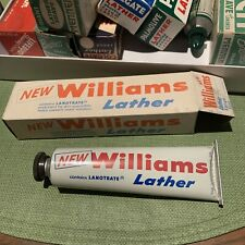 NOS Large Tube Williams Lather Shaving Cream Men Shave 1950's Boxed Lanotrate Nr