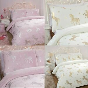 Sleepdown Foil Flannel Unicorn Fleece Bedding Set with Pillow Case