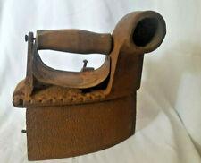 Vintage Coal Charcoal Iron 45deg Goose neck Chimney Wood Handle & Guard Antique