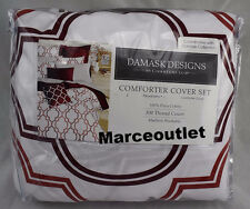 Charter Club Damask Designs Double Ogee KING Duvet & Shams Garnet