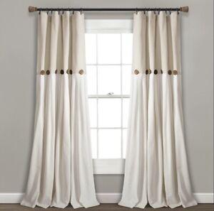 "(2) Lush Decor Linen Button Curtain Panels - 40"" x 95"" - Linen Beige Tan"