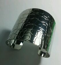 Semi Bendable Cuff Bracelet Silver Animal Imprint Lizard Crocodile
