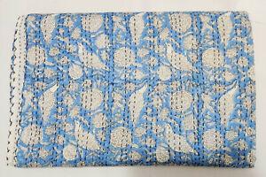 New Indian Cotton Queen Hand Block Print Coverlet Bedding Kantha Quilt Bedspread