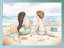 Beach Buddies Mermaid Print from Original Painting Camille Grimshaw boy girl