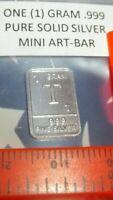 1 Gram .999 Pure Fine Solid Silver ~ Uncirculated Mini Art-Bar:  Letter ~ T ~