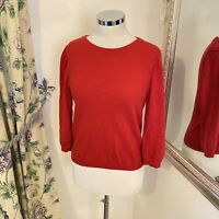 Jigsaw Size M 10 red knitted Wool blend hint cashmere cosy jumper zip *HOLES*