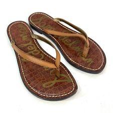 Sam Edelman Gracie Leather Thong Sandal Womens 6.5 Tan Brown Flat