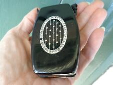 VINTAGE FLAPPER 1920s CELLULOID RHINESTONE BLACK DANCE COMPACT VANITY PURSE