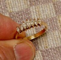 14K YELLOW GOLD FN  2 CARAT MARQUISE VVS1 DIAMOND 7 STONE WATERFALL BAND RING