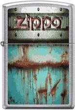 Zippo Bolted Logo, Aqua Blue/Green, Metallic Paint, Rust, Street Chrome New Rare