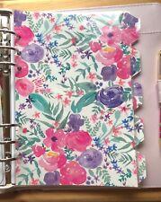 Filofax A5 Organiser Planner - Pretty Pink & Purple Flower Dividers - Laminated