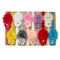 5pcs Elastic Newborn Baby Headdress Girls Chiffon Hair Band Flower Headband KW
