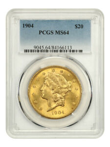 1904 $20 PCGS MS64 - Gold Type Coin - Liberty Double Eagle - Gold Coin