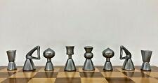 Mid Century Modernist Chess Set. Abstract Design Brass & Steel Chessm. Rare!