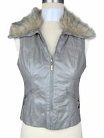 NWT, Paris Blues Vest Jacket Women's M Zip-Up Faux Leather/Fur Collar Gray Lined