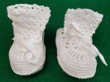 VINTAGE WHITE COTTON HAND CROCHET BABY BOOTIES
