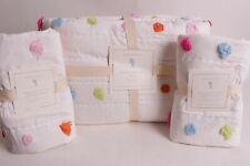 NWT Pottery Barn Kids Bright Pom Pom FQ quilt & 2 shams full queen f/q