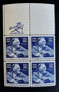 "US Stamps, Scott #1950 FDR ""Mr Zip"" Block of 4 20c 1982 XF M/NH PO fresh"