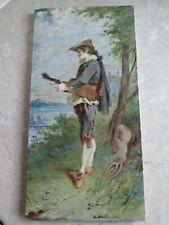 ANTIQUE MINTON TILE - ANTONIN BOULLEMIER  HAND PAINTED / SIGNED MUSICIAN C.1888