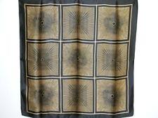 New 100% Charmeuse Silk Scarf Shawl Golden Black Art Curvy