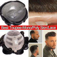 Natural Toupee For Men 100% Human Hair System Hairpieces Replacement Wig Skin US