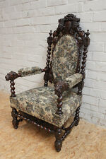 1112023 : Large Antique French Renaissance Hunt Arm Chair Carved Lions