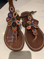 Beautiful Beaded Handmade Leather Aspiga sandals Size 4 EUR 37
