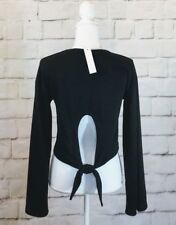 Nwt Anthropologie Drew Black Self Tie Back Bell Sleeve Cropped Top Size S-$168