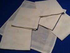 6 mouchoirs anciens, en coton blanc, petits jours tout autour, monogramme J ou P
