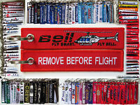 Keyring HELICOPTER BELL 206 JET RANGER HAWK Remove Before Flight tag keychain