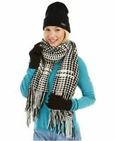 3 Pc set DKNY houndstooth women's winter scarf + beanie hat + gloves BLACK/WHITE