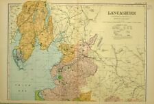 1902 ANTIQUE MAP LANCASHIRE NORTH BARROW IN FURNESS DALTON LANCASTER GARSTANG