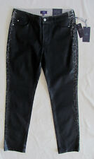 NYDJ Not Your Daughter's Jeans Sheri Skinny Black Coated Stone -Size 10P NWT