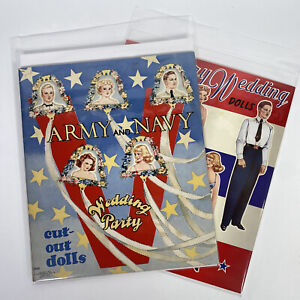 Paper Dolls - Army and Navy Wedding Party Saalfield 1943 Uncut With 2001 Reprod