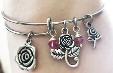 Nature Rose Garden Swarovski Crystal Silver Charm Flower Pink Bangle Bracelet