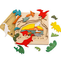 Animal Jigsaw Puzzle Toy Early Educational Montessori Toy Wooden Children A8A