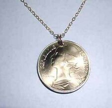 Vintage French Golden coin necklace-nicely domed-beautifully detailed!