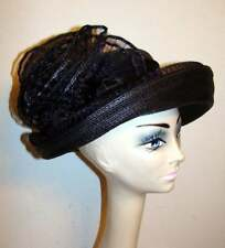 Vintage Sylvia Black Woven Mesh Hat with Ruffle Detail
