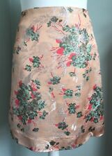 NOA NOA Glossy Floral Silver Jacquard Straight Short Skirt Size S 10 BNWOT £95