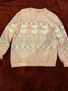 80's Vintage Pastel Cat Sweater Pink Kitty Kawaii Fairy Kei