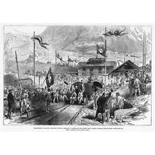 Suiza San Gotardo; primer tren llegando a Airolo-Antigua Impresión 1880