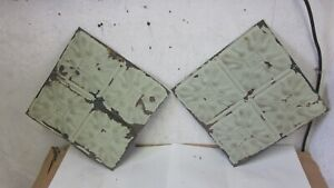 """Two Matching Antique  Floral  Sage 12 """" x 12 """" Tin Ceiling Tiles Salvaged"""