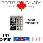 5 Grams .999 999 Pure Silver Fine Bullion - FREE SHIPPING