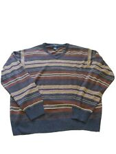 Dockers Sweater Mens Size XL Brown Beige White Striped SOFT WARM & COMFORTABLE!