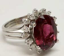 4.3ct Oval Rubellite Tourmaline, Diamond, 14kt White Gold Cocktail Ring; Size 5.