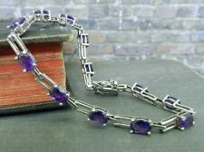 Signed Sterling Silver & Purple Stone Link Tennis Bracelet