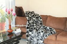 5'x6' Black White Paradise Bird Feathers Fake Fur Comfy Throw Blankets Comforter