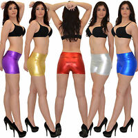 Damen Shorts Damenshorts Hot Pants kurze Hose Hosen in Metallic Glanz Optik H32