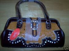 Bingham Designer Tan and Brown Leather Handbag, NWT